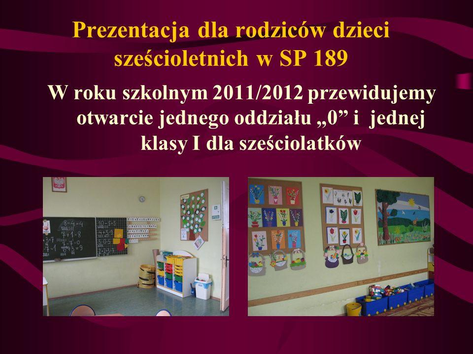 Informacja dla rodziców dzieci sześcioletnich w SP 189 Baza szkoły: Posiadamy salę lekcyjną dostosowaną do potrzeb dzieci klas 0.