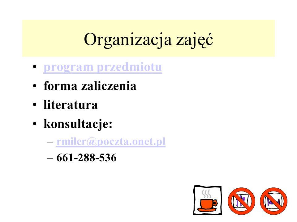 22 Organizacja zajęć program przedmiotu forma zaliczenia literatura konsultacje: –rmiler@poczta.onet.plrmiler@poczta.onet.pl –661-288-536