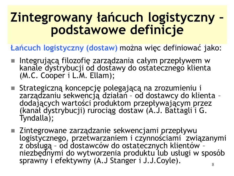 8 Zintegrowany łańcuch logistyczny – podstawowe definicje Łańcuch logistyczny (dostaw) można więc definiować jako: Integrującą filozofię zarządzania c