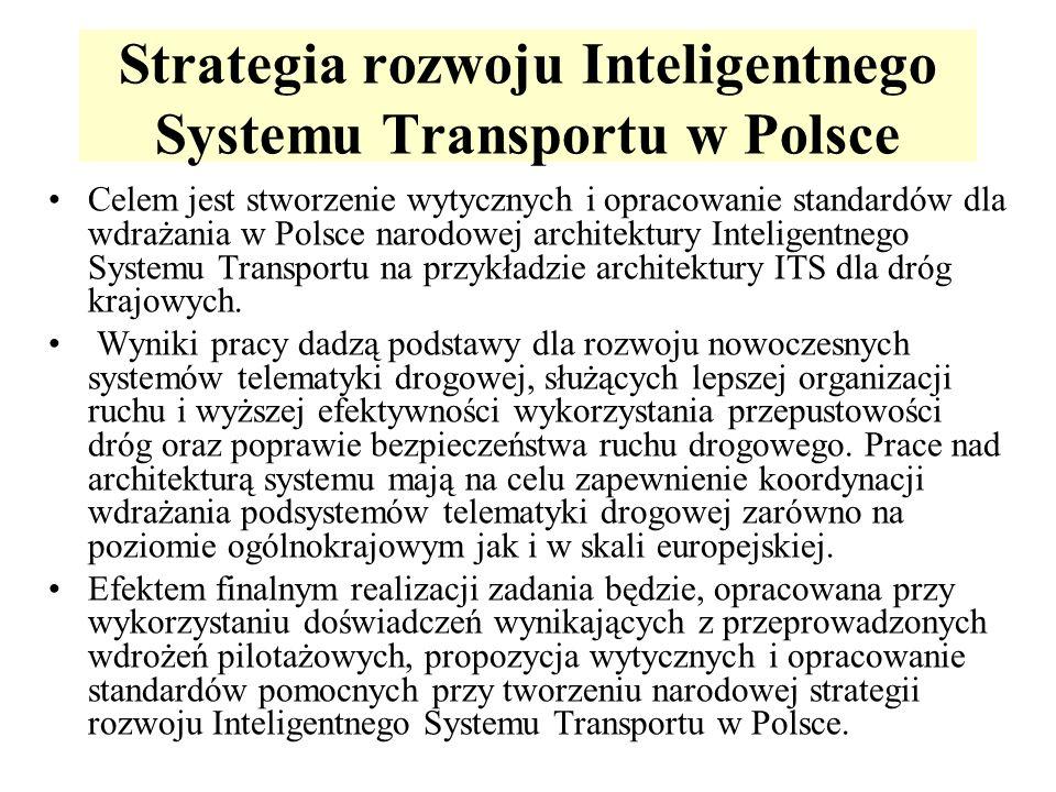 Strategia rozwoju Inteligentnego Systemu Transportu w Polsce Celem jest stworzenie wytycznych i opracowanie standardów dla wdrażania w Polsce narodowej architektury Inteligentnego Systemu Transportu na przykładzie architektury ITS dla dróg krajowych.