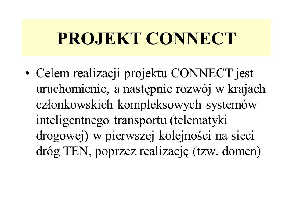PROJEKT CONNECT Celem realizacji projektu CONNECT jest uruchomienie, a następnie rozwój w krajach członkowskich kompleksowych systemów inteligentnego transportu (telematyki drogowej) w pierwszej kolejności na sieci dróg TEN, poprzez realizację (tzw.