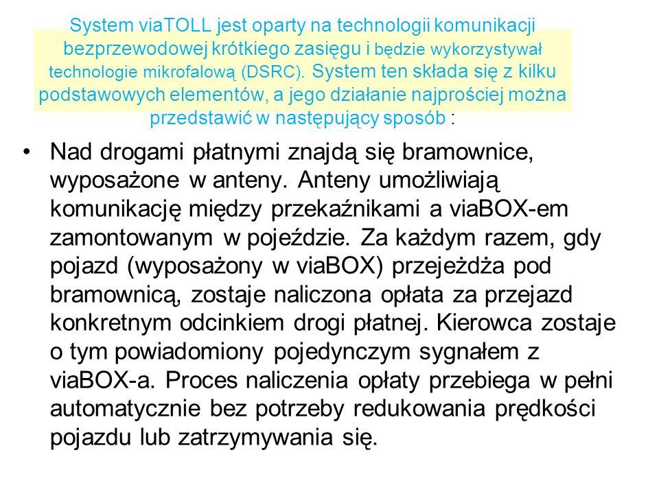 System viaTOLL jest oparty na technologii komunikacji bezprzewodowej krótkiego zasięgu i będzie wykorzystywał technologie mikrofalową (DSRC).