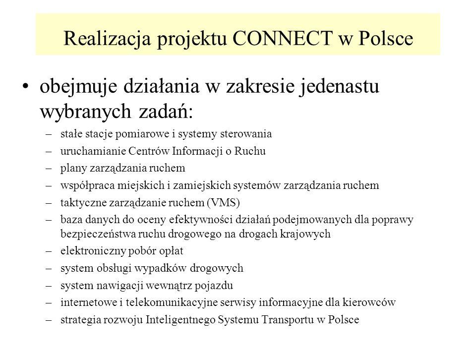 Realizacja projektu CONNECT w Polsce obejmuje działania w zakresie jedenastu wybranych zadań: –stałe stacje pomiarowe i systemy sterowania –uruchamianie Centrów Informacji o Ruchu –plany zarządzania ruchem –współpraca miejskich i zamiejskich systemów zarządzania ruchem –taktyczne zarządzanie ruchem (VMS) –baza danych do oceny efektywności działań podejmowanych dla poprawy bezpieczeństwa ruchu drogowego na drogach krajowych –elektroniczny pobór opłat –system obsługi wypadków drogowych –system nawigacji wewnątrz pojazdu –internetowe i telekomunikacyjne serwisy informacyjne dla kierowców –strategia rozwoju Inteligentnego Systemu Transportu w Polsce