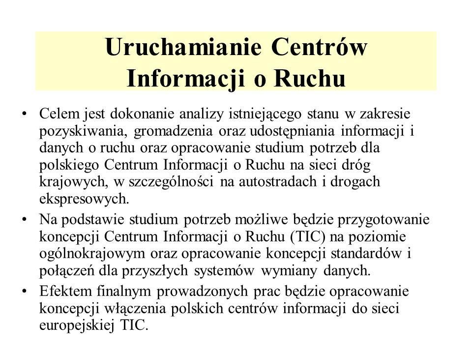 Uruchamianie Centrów Informacji o Ruchu Celem jest dokonanie analizy istniejącego stanu w zakresie pozyskiwania, gromadzenia oraz udostępniania informacji i danych o ruchu oraz opracowanie studium potrzeb dla polskiego Centrum Informacji o Ruchu na sieci dróg krajowych, w szczególności na autostradach i drogach ekspresowych.