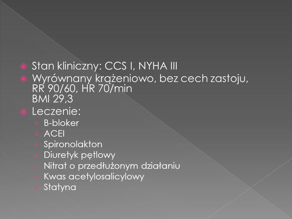 Stan kliniczny: CCS I, NYHA III Wyrównany krążeniowo, bez cech zastoju, RR 90/60, HR 70/min BMI 29,3 Leczenie: B-bloker ACEI Spironolakton Diuretyk pętlowy Nitrat o przedłużonym działaniu Kwas acetylosalicylowy Statyna