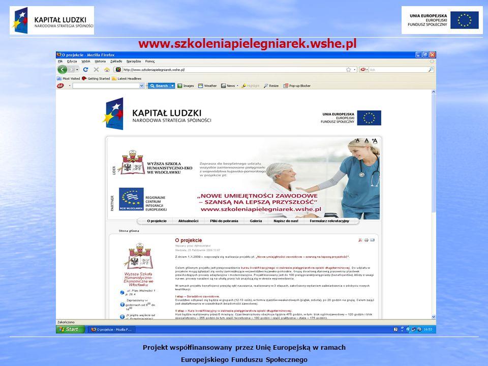 www.szkoleniapielegniarek.wshe.pl Projekt współfinansowany przez Unię Europejską w ramach Europejskiego Funduszu Społecznego
