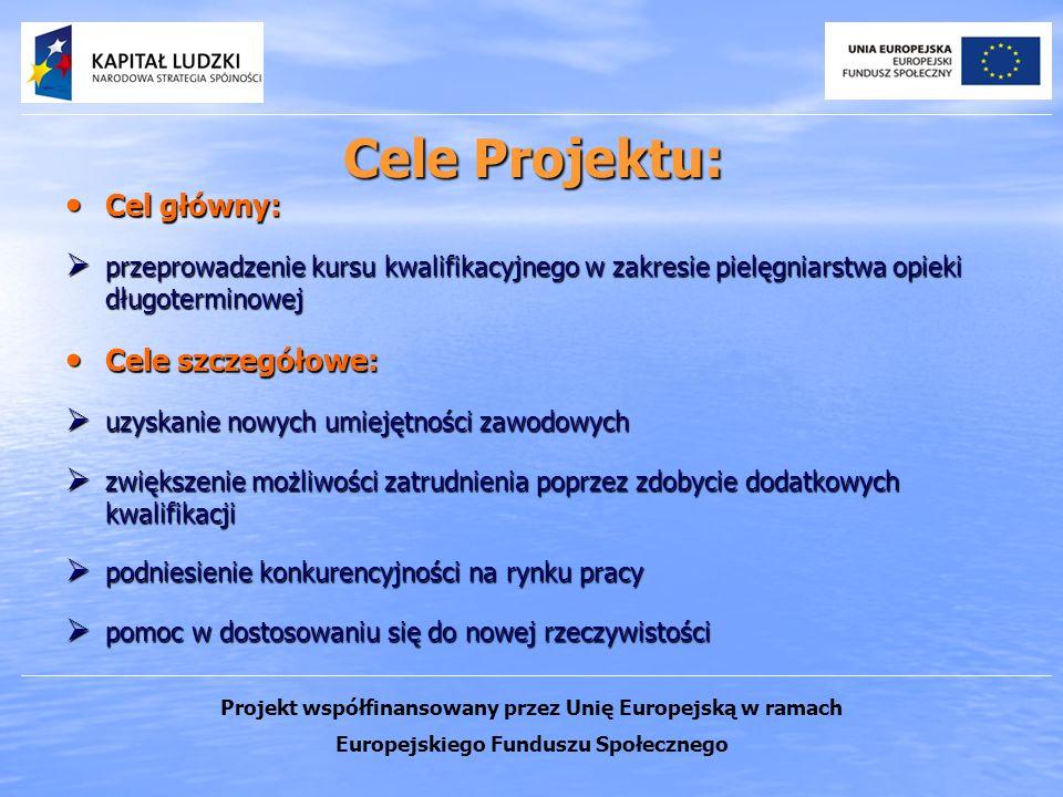 Cele Projektu: Cel główny: Cel główny: przeprowadzenie kursu kwalifikacyjnego w zakresie pielęgniarstwa opieki długoterminowej przeprowadzenie kursu k