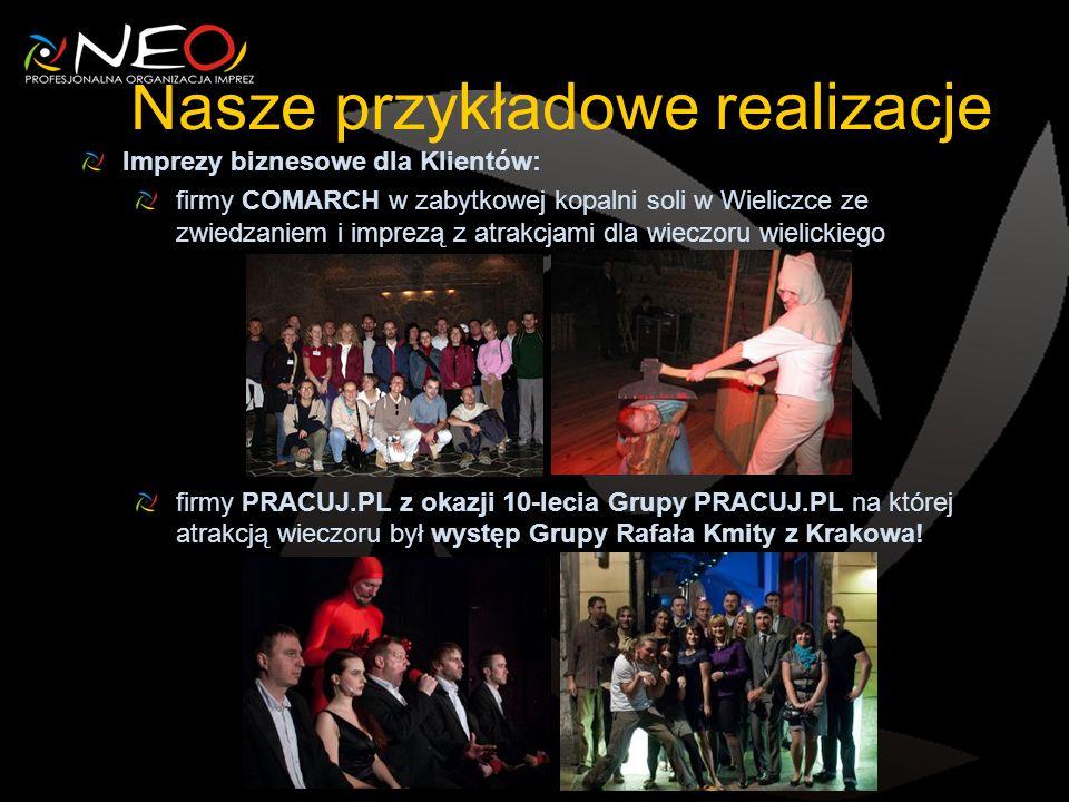 Nasze przykładowe realizacje Imprezy biznesowe dla Klientów: firmy COMARCH w zabytkowej kopalni soli w Wieliczce ze zwiedzaniem i imprezą z atrakcjami dla wieczoru wielickiego firmy PRACUJ.PL z okazji 10-lecia Grupy PRACUJ.PL na której atrakcją wieczoru był występ Grupy Rafała Kmity z Krakowa!