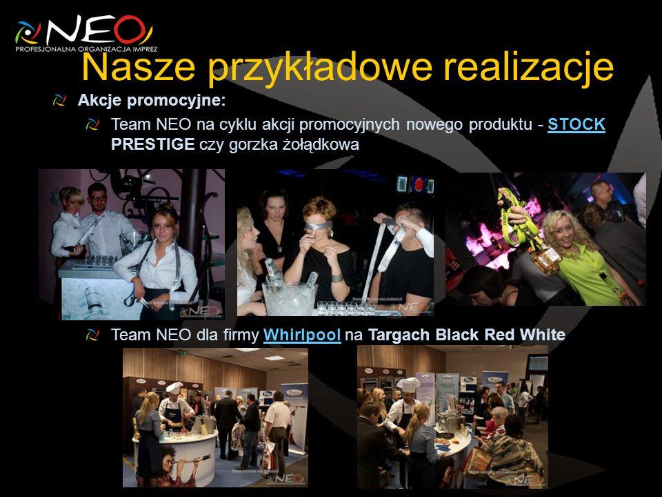 Nasze przykładowe realizacje Akcje promocyjne: Team NEO na cyklu akcji promocyjnych nowego produktu - STOCK PRESTIGE czy gorzka żołądkowaSTOCK Team NEO dla firmy Whirlpool na Targach Black Red WhiteWhirlpool