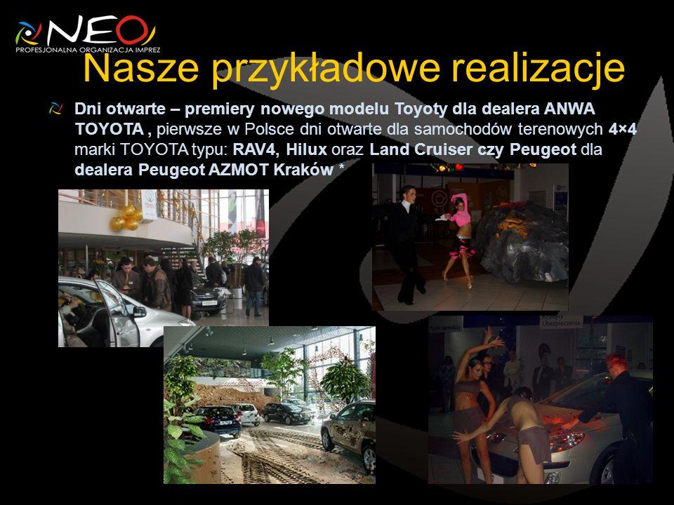 Nasze przykładowe realizacje Dni otwarte – premiery nowego modelu Toyoty dla dealera ANWA TOYOTA, pierwsze w Polsce dni otwarte dla samochodów terenowych 4×4 marki TOYOTA typu: RAV4, Hilux oraz Land Cruiser czy Peugeot dla dealera Peugeot AZMOT Kraków *