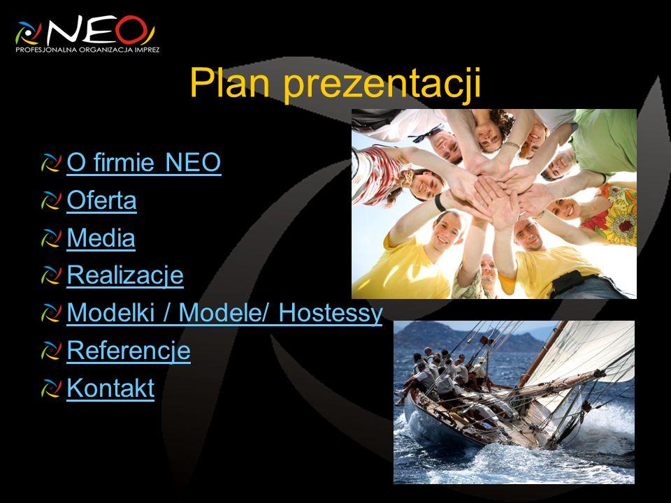 Plan prezentacji O firmie NEO Oferta Media Realizacje Modelki / Modele/ Hostessy Referencje Kontakt