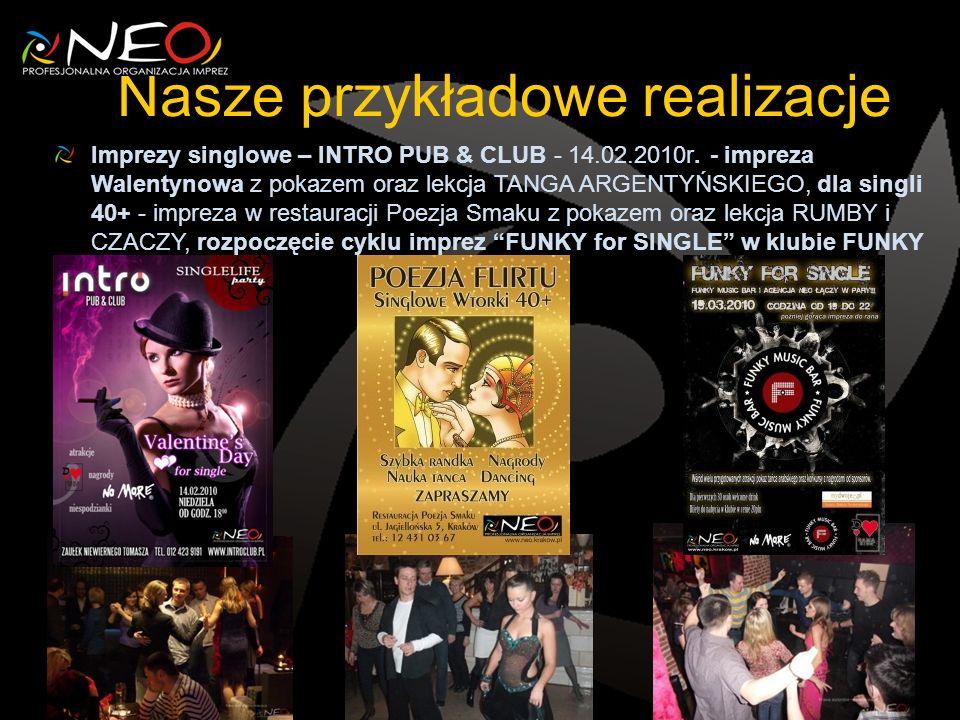Nasze przykładowe realizacje Imprezy singlowe – INTRO PUB & CLUB - 14.02.2010r.