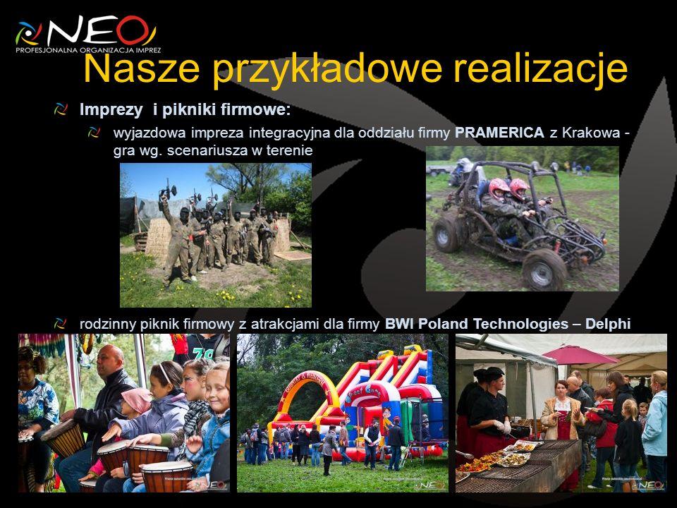 Nasze przykładowe realizacje Imprezy i pikniki firmowe: wyjazdowa impreza integracyjna dla oddziału firmy PRAMERICA z Krakowa - gra wg.