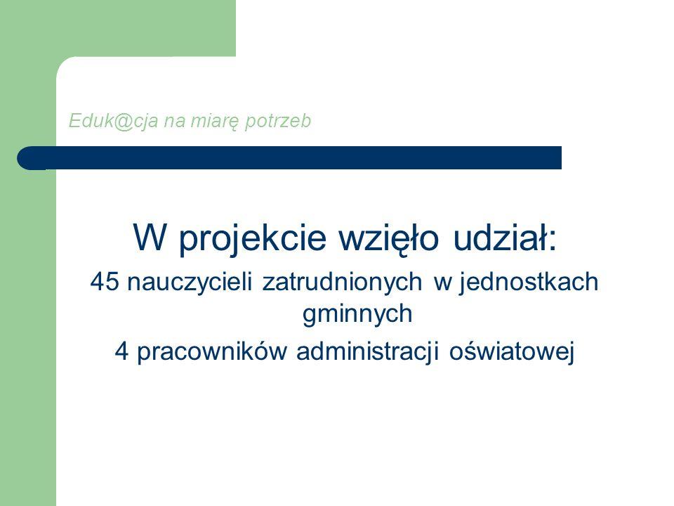 Eduk@cja na miarę potrzeb W projekcie wzięło udział: 45 nauczycieli zatrudnionych w jednostkach gminnych 4 pracowników administracji oświatowej