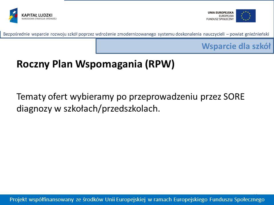 Roczny Plan Wspomagania (RPW) Tematy ofert wybieramy po przeprowadzeniu przez SORE diagnozy w szkołach/przedszkolach.