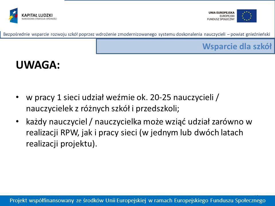 13 Projekt współfinansowany ze środków Unii Europejskiej w ramach Europejskiego Funduszu Społecznego Wsparcie dla szkół UWAGA: w pracy 1 sieci udział weźmie ok.