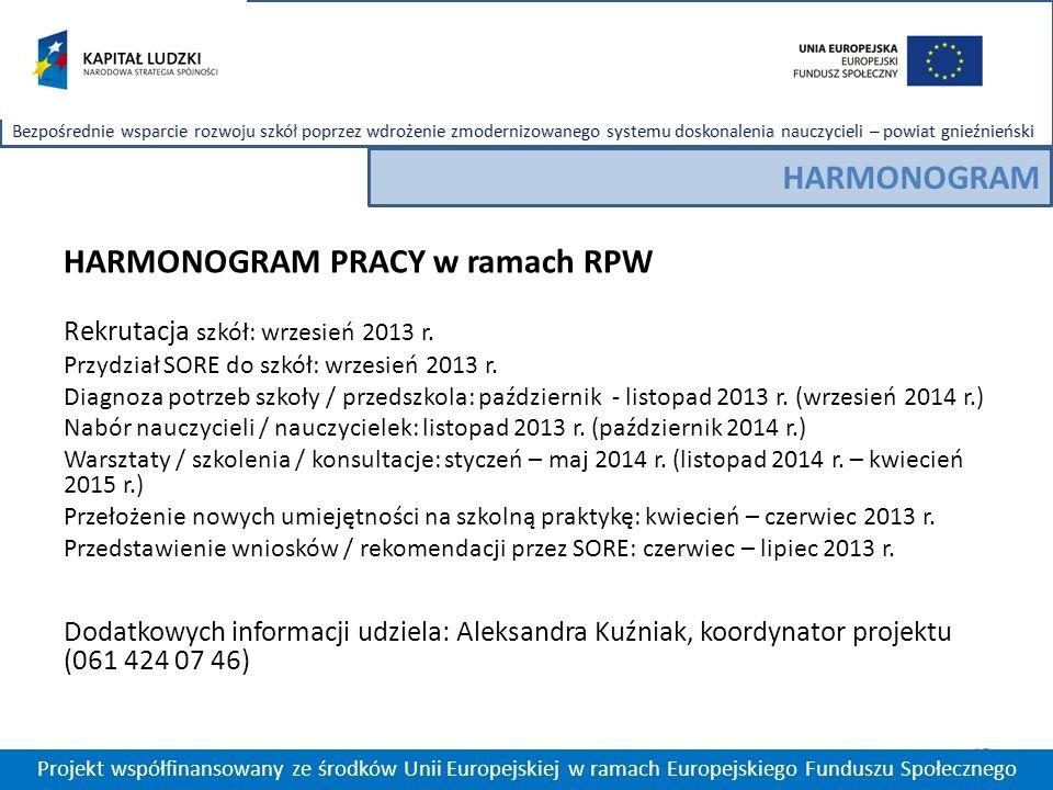 15 Projekt współfinansowany ze środków Unii Europejskiej w ramach Europejskiego Funduszu Społecznego HARMONOGRAM HARMONOGRAM PRACY w ramach RPW Rekrutacja szkół: wrzesień 2013 r.