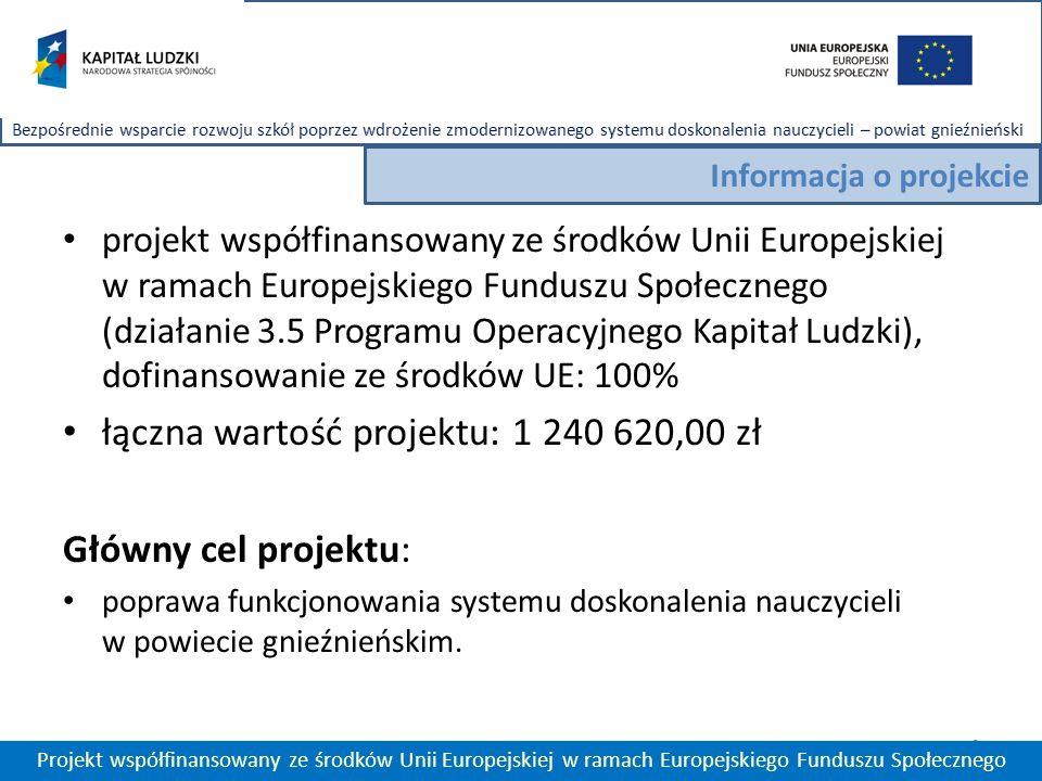 projekt współfinansowany ze środków Unii Europejskiej w ramach Europejskiego Funduszu Społecznego (działanie 3.5 Programu Operacyjnego Kapitał Ludzki), dofinansowanie ze środków UE: 100% łączna wartość projektu: 1 240 620,00 zł Główny cel projektu: poprawa funkcjonowania systemu doskonalenia nauczycieli w powiecie gnieźnieńskim.