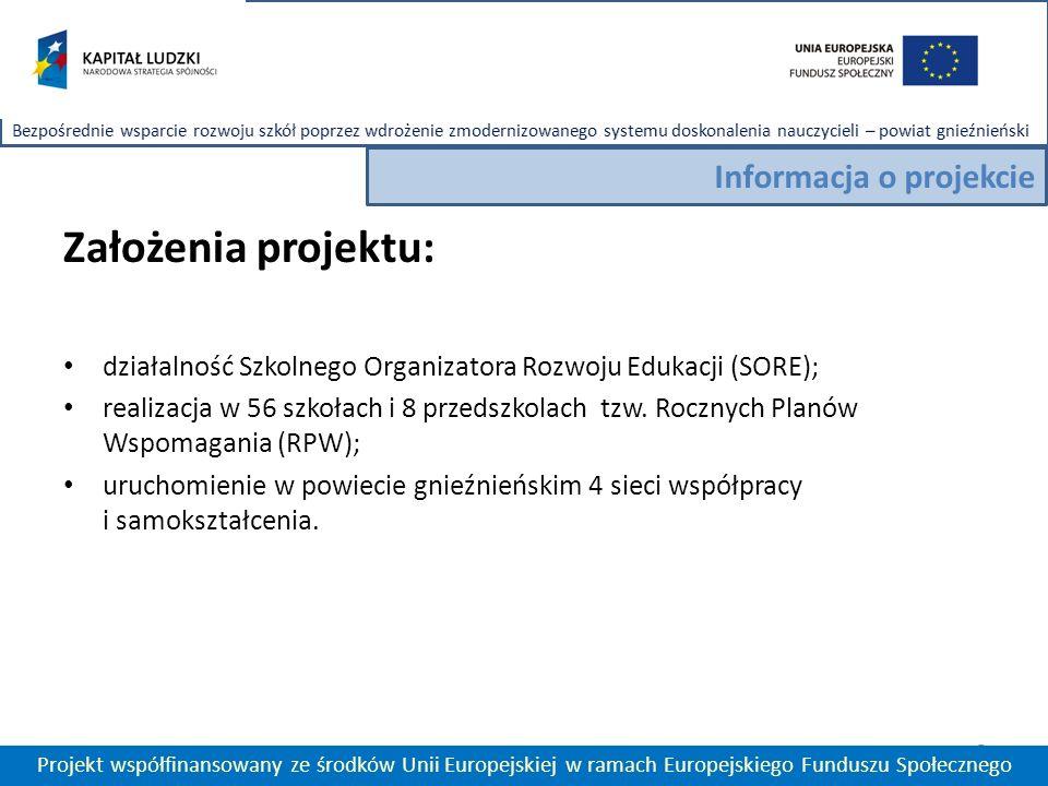 Założenia projektu: działalność Szkolnego Organizatora Rozwoju Edukacji (SORE); realizacja w 56 szkołach i 8 przedszkolach tzw.