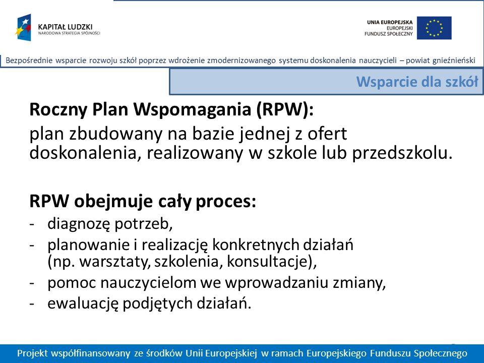 Roczny Plan Wspomagania (RPW): plan zbudowany na bazie jednej z ofert doskonalenia, realizowany w szkole lub przedszkolu.