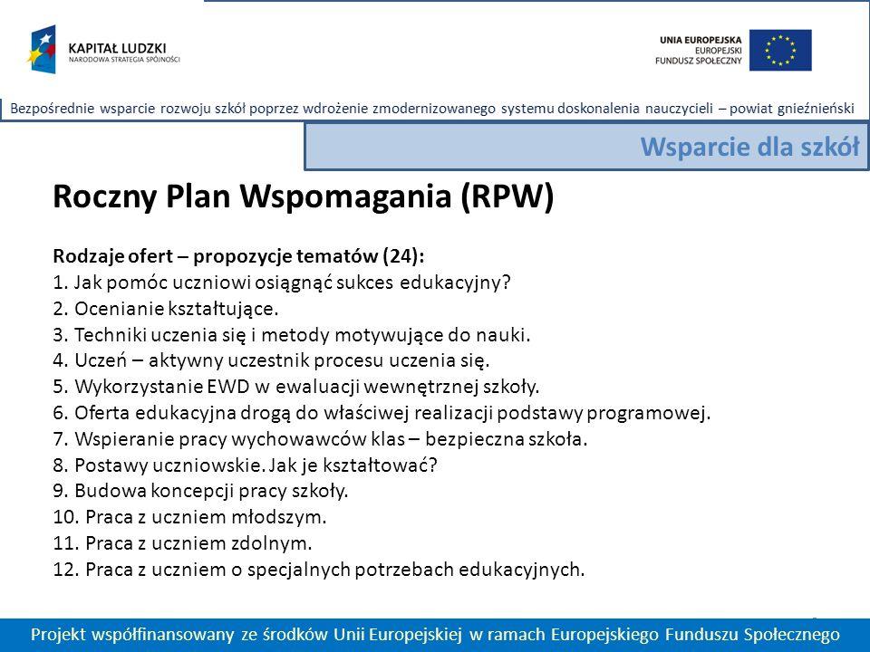 Roczny Plan Wspomagania (RPW) Rodzaje ofert – propozycje tematów (24): 1.