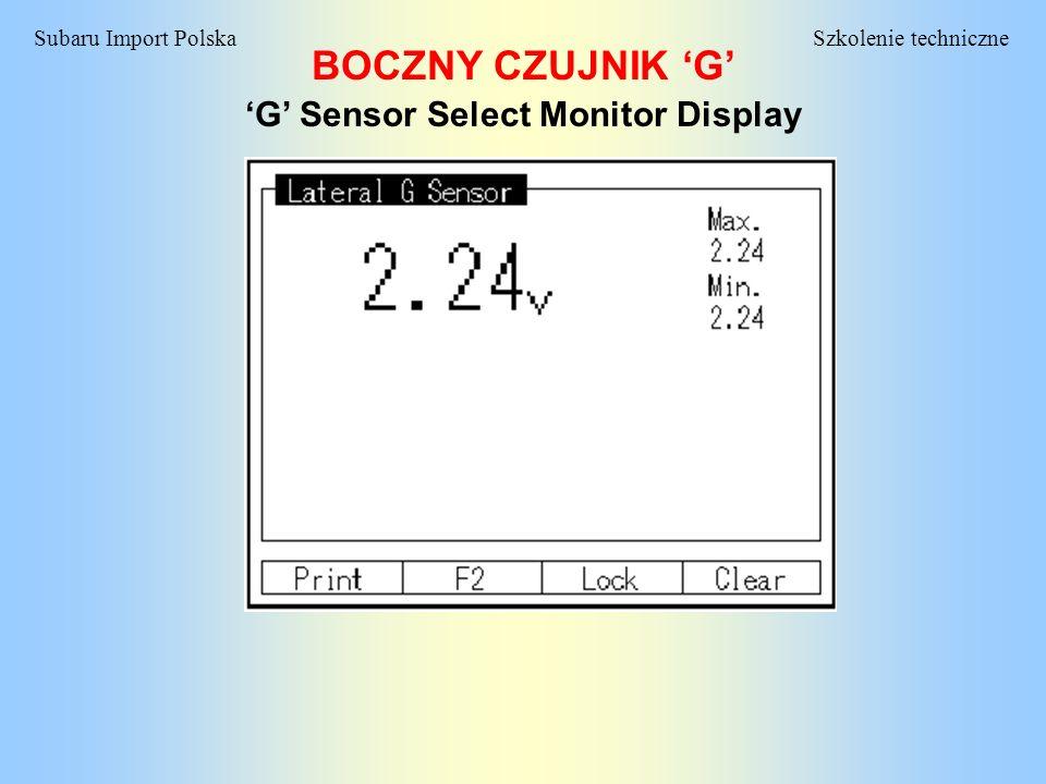 Szkolenie techniczneSubaru Import Polska BOCZNY CZUJNIK G G Sensor Select Monitor Display