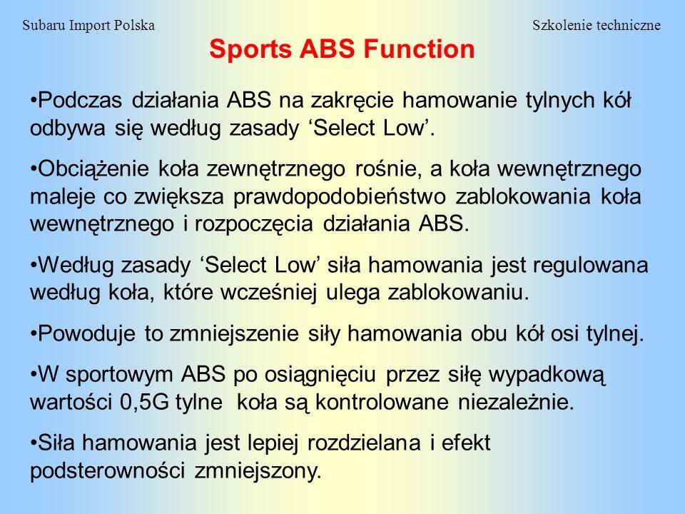 Szkolenie techniczneSubaru Import Polska Sports ABS Function Podczas działania ABS na zakręcie hamowanie tylnych kół odbywa się według zasady Select L