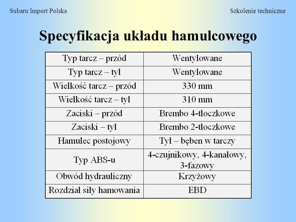 Szkolenie techniczneSubaru Import Polska Elektroniczny rozdział siły hamowania (EBD) Konwencjonaly układ hamulcowy wykorzystuje zawór proporcjonalny.