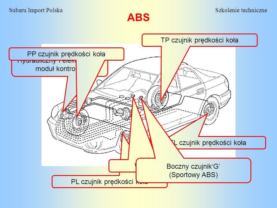 Szkolenie techniczneSubaru Import Polska ABS Hydrauliczny i elektroniczny moduł kontrolny PL czujnik prędkości koła TP czujnik prędkości koła TL czujn