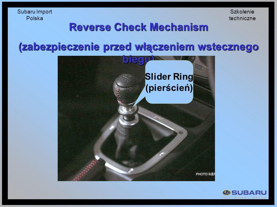 Subaru Import Polska Szkolenie techniczne Reverse Check Mechanism (zabezpieczenie przed włączeniem wstecznego biegu) Slider Ring (pierścień)