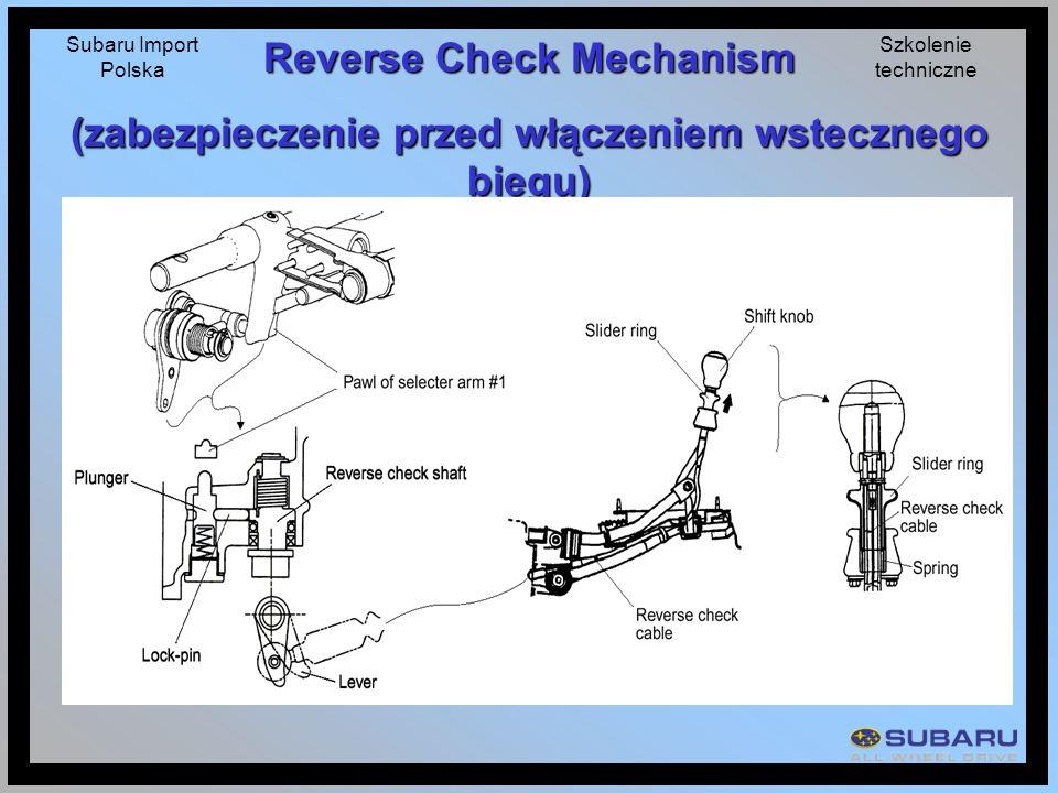 Subaru Import Polska Szkolenie techniczne Reverse Check Mechanism (zabezpieczenie przed włączeniem wstecznego biegu)