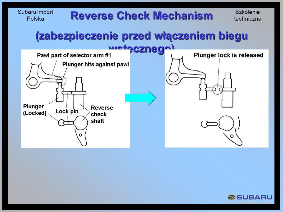 Subaru Import Polska Szkolenie techniczne Reverse Check Mechanism (zabezpieczenie przed włączeniem biegu wstecznego)