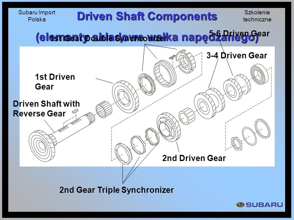 Subaru Import Polska Szkolenie techniczne Driven Shaft Components (elementy składowe wałka napędzanego) Driven Shaft with Reverse Gear 1st Driven Gear