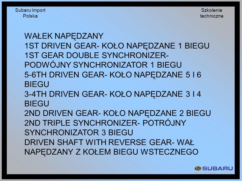 Subaru Import Polska Szkolenie techniczne WAŁEK NAPĘDZANY 1ST DRIVEN GEAR- KOŁO NAPĘDZANE 1 BIEGU 1ST GEAR DOUBLE SYNCHRONIZER- PODWÓJNY SYNCHRONIZATO