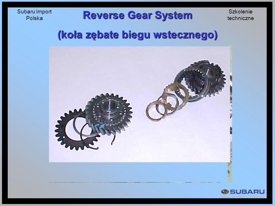 Subaru Import Polska Szkolenie techniczne Reverse Gear System (koła zębate biegu wstecznego)