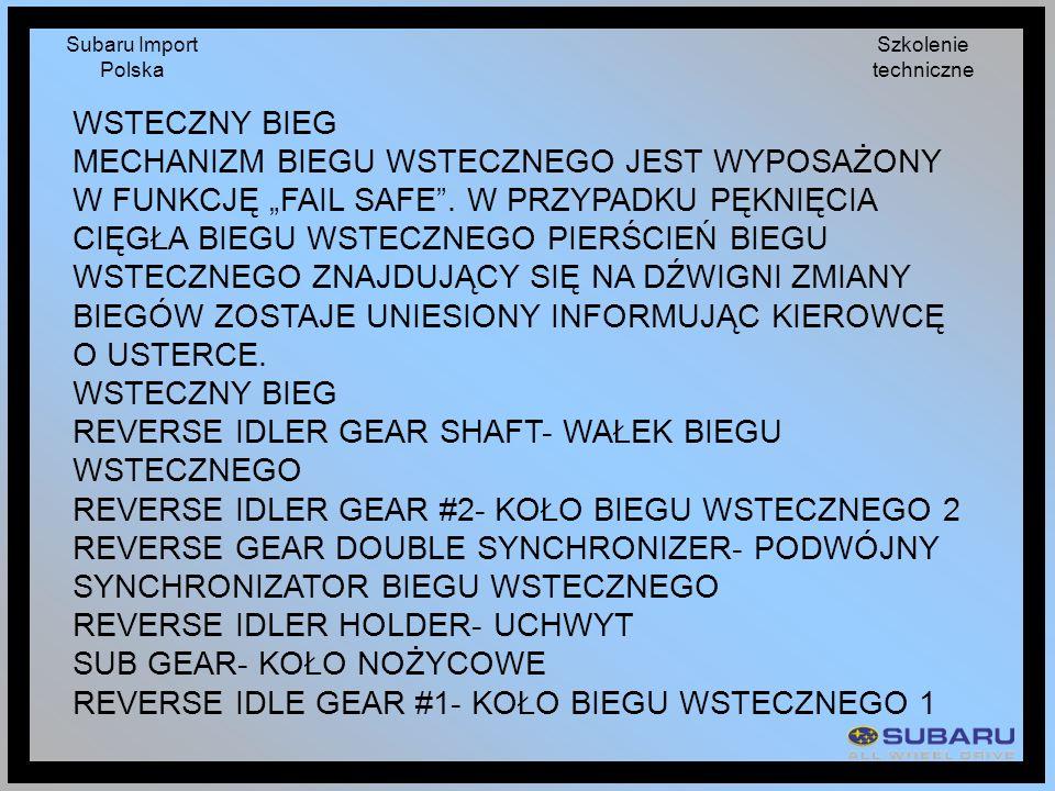 Subaru Import Polska Szkolenie techniczne WSTECZNY BIEG MECHANIZM BIEGU WSTECZNEGO JEST WYPOSAŻONY W FUNKCJĘ FAIL SAFE. W PRZYPADKU PĘKNIĘCIA CIĘGŁA B