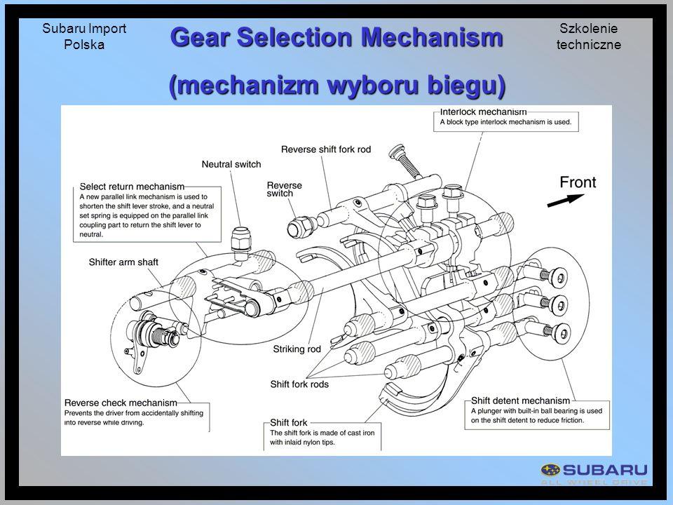 Subaru Import Polska Szkolenie techniczne Gear Selection Mechanism (mechanizm wyboru biegu)