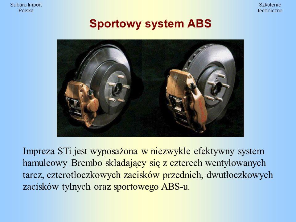Szkolenie techniczne Subaru Import Polska Specyfikacja układu hamulcowego