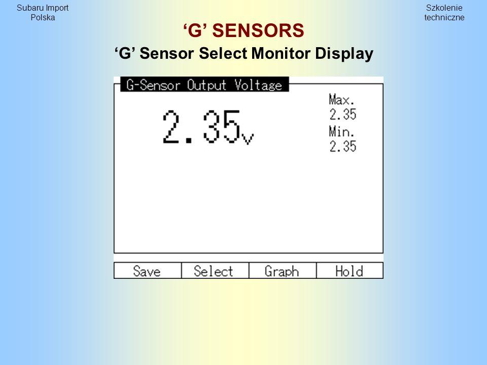 Szkolenie techniczne Subaru Import Polska Poprzeczny czujnik G G Sensor Select Monitor Display