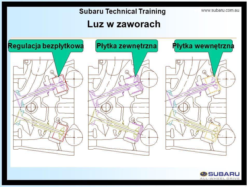 www.subaru.com.au Subaru Technical Training Luz w zaworach Regulacja bezpłytkowaPłytka zewnętrznaPłytka wewnętrzna