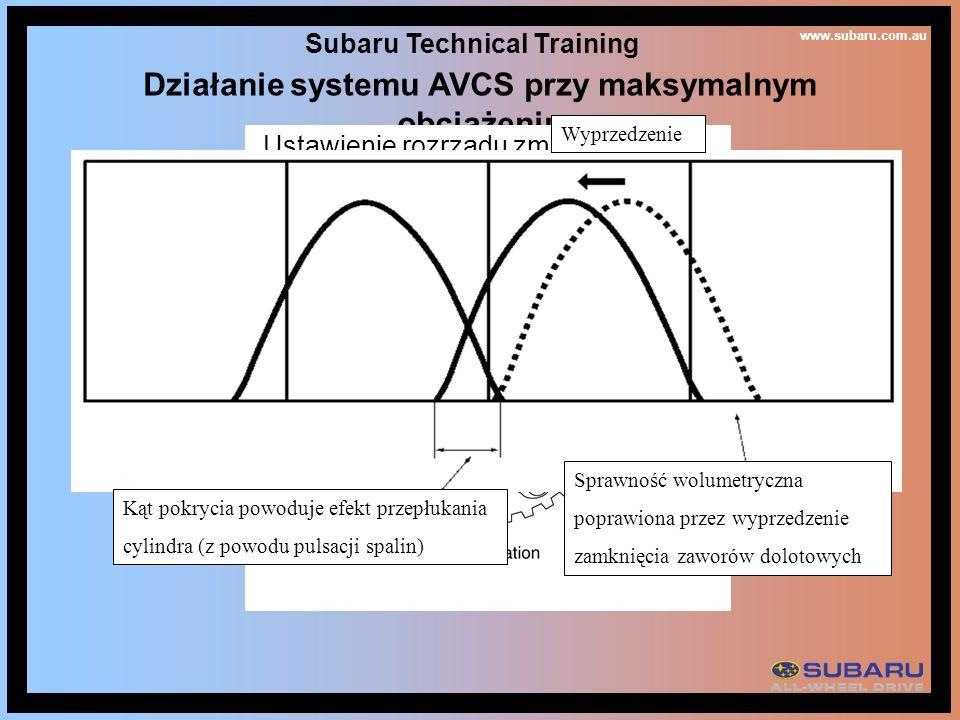 www.subaru.com.au Subaru Technical Training Działanie systemu AVCS przy maksymalnym obciążeniu Ustawienie rozrządu zmienia się od przyspieszonego poprzez opóźnione do przyspieszonego w czasie wzrostu prędkości silnika Wyprzedzenie Sprawność wolumetryczna poprawiona przez wyprzedzenie zamknięcia zaworów dolotowych Kąt pokrycia powoduje efekt przepłukania cylindra (z powodu pulsacji spalin)