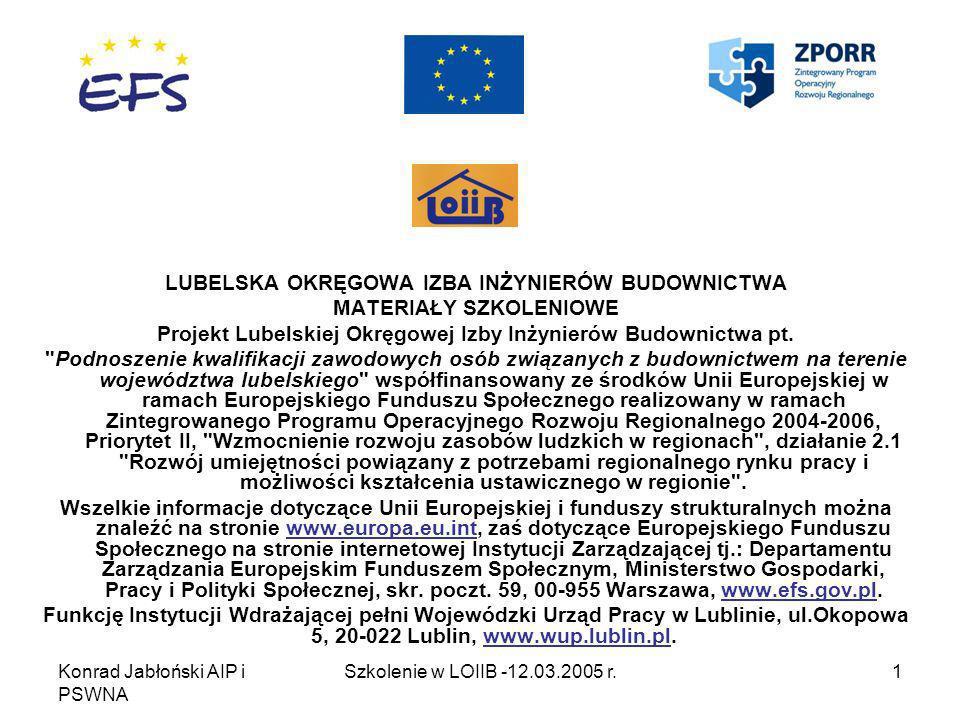 Konrad Jabłoński AIP i PSWNA Szkolenie w LOIIB -12.03.2005 r.2 WDRAŻANIE NORM EUROPEJSKICH W DROGOWNICTWIE I BADANIA LABORATORYJNE CZĘŚĆ II BADANIA LABORATORYJNE – METODY BADAŃ KRUSZYW WYMAGANE NORMĄ PN-EN 13043:2004