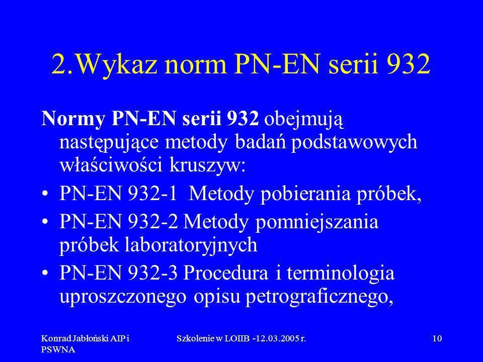 Konrad Jabłoński AIP i PSWNA Szkolenie w LOIIB -12.03.2005 r.10 2.Wykaz norm PN-EN serii 932 Normy PN-EN serii 932 obejmują następujące metody badań p