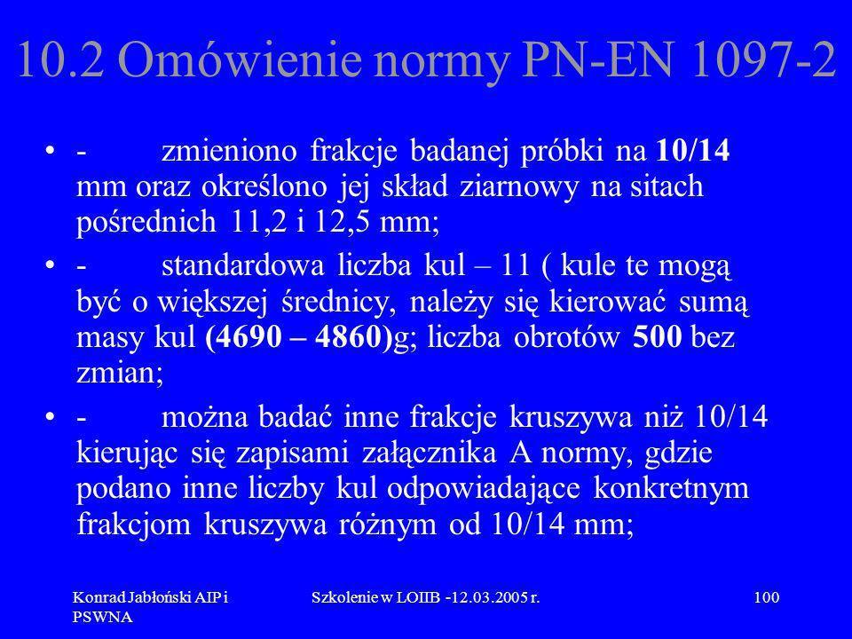 Konrad Jabłoński AIP i PSWNA Szkolenie w LOIIB -12.03.2005 r.100 10.2 Omówienie normy PN-EN 1097-2 - zmieniono frakcje badanej próbki na 10/14 mm oraz