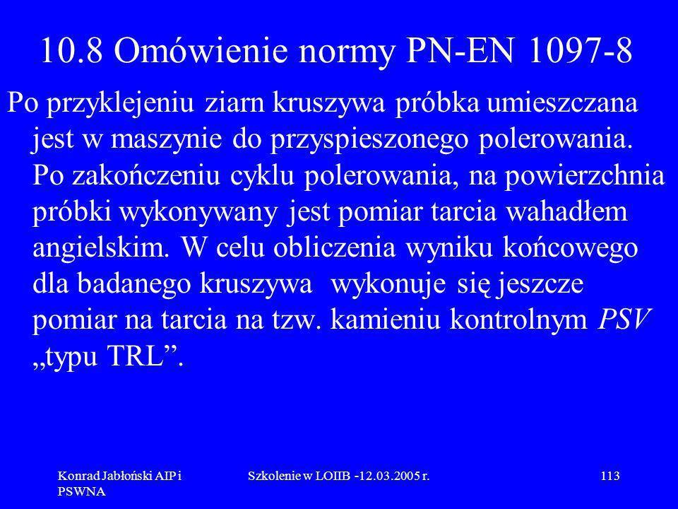 Konrad Jabłoński AIP i PSWNA Szkolenie w LOIIB -12.03.2005 r.113 10.8 Omówienie normy PN-EN 1097-8 Po przyklejeniu ziarn kruszywa próbka umieszczana j