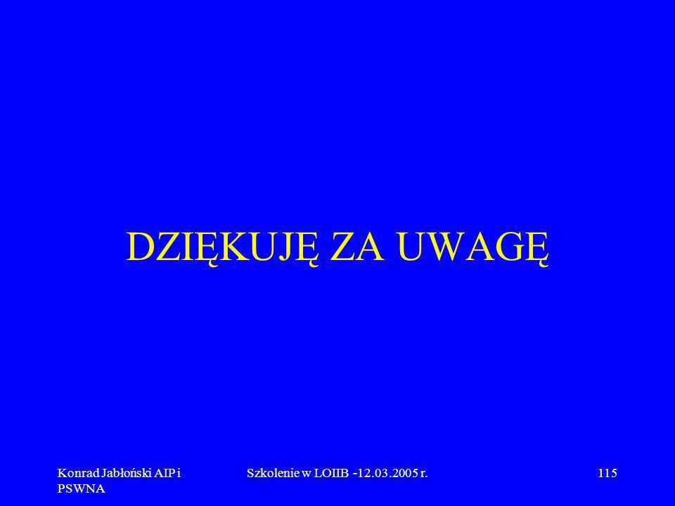 Konrad Jabłoński AIP i PSWNA Szkolenie w LOIIB -12.03.2005 r.115 DZIĘKUJĘ ZA UWAGĘ