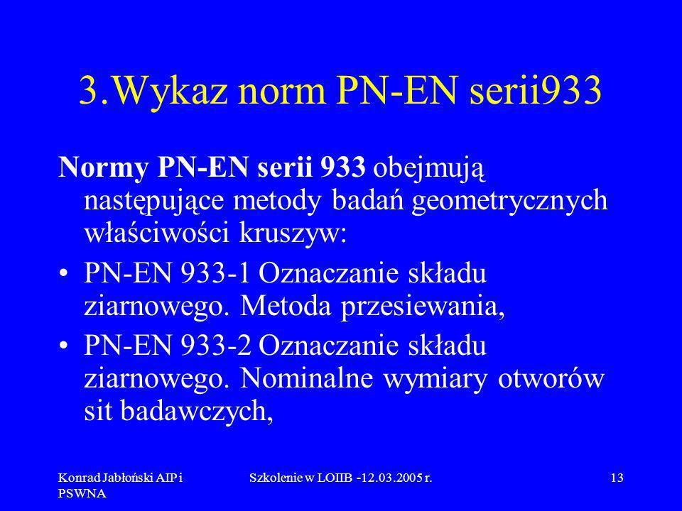 Konrad Jabłoński AIP i PSWNA Szkolenie w LOIIB -12.03.2005 r.13 3.Wykaz norm PN-EN serii933 Normy PN-EN serii 933 obejmują następujące metody badań ge