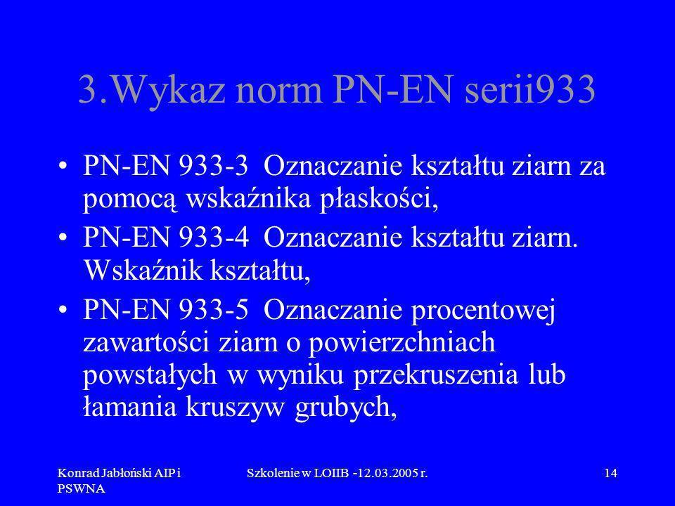 Konrad Jabłoński AIP i PSWNA Szkolenie w LOIIB -12.03.2005 r.14 3.Wykaz norm PN-EN serii933 PN-EN 933-3 Oznaczanie kształtu ziarn za pomocą wskaźnika