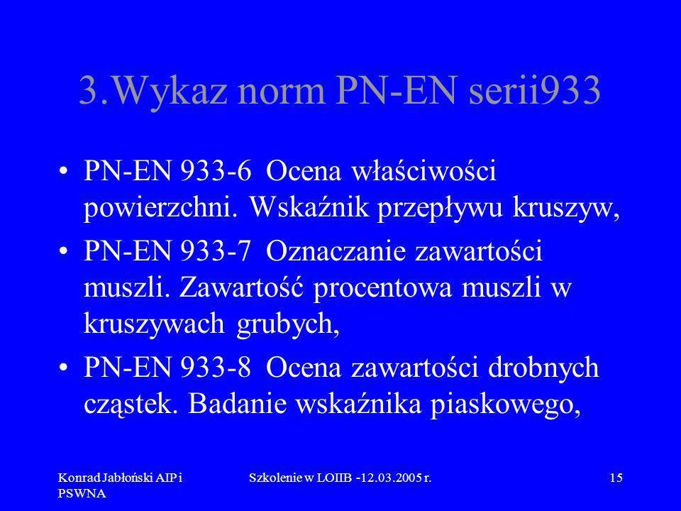 Konrad Jabłoński AIP i PSWNA Szkolenie w LOIIB -12.03.2005 r.15 3.Wykaz norm PN-EN serii933 PN-EN 933-6 Ocena właściwości powierzchni. Wskaźnik przepł