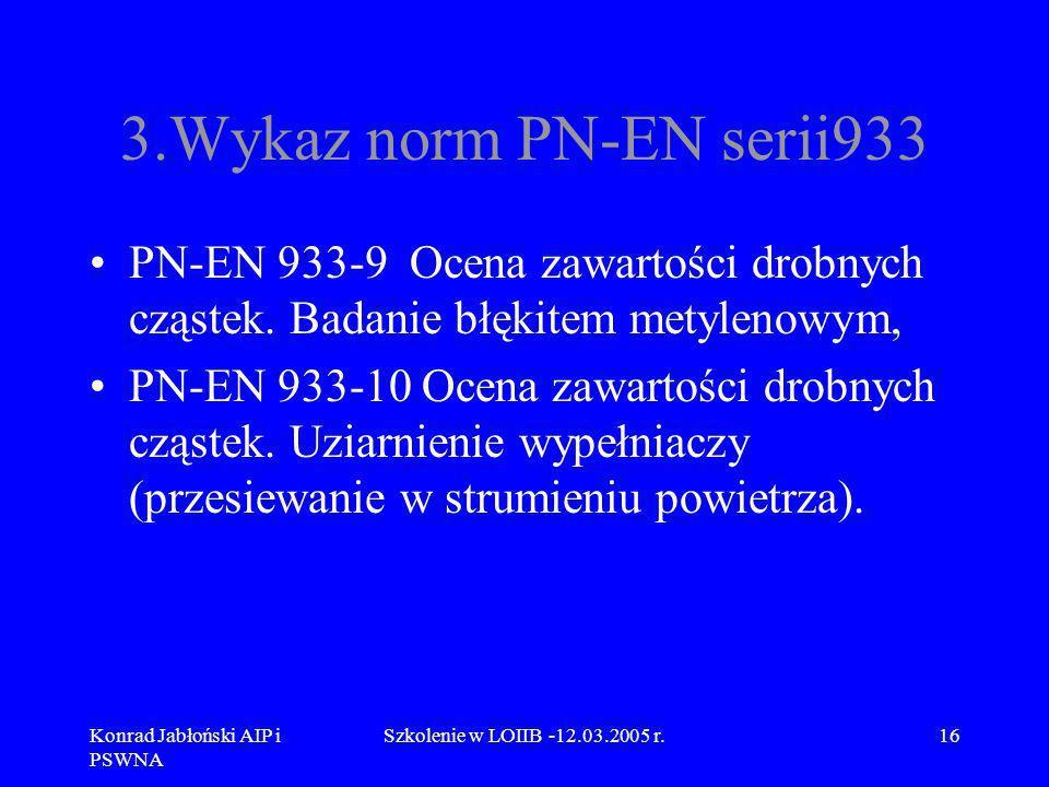 Konrad Jabłoński AIP i PSWNA Szkolenie w LOIIB -12.03.2005 r.16 3.Wykaz norm PN-EN serii933 PN-EN 933-9 Ocena zawartości drobnych cząstek. Badanie błę